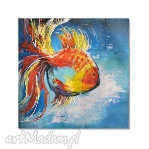 obrazy ryba, abstrakcja, nowoczesny obraz ręcznie malowany, zwierzęta