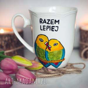Kubek ręcznie malowany papugi: razem lepiej kubki pracownia