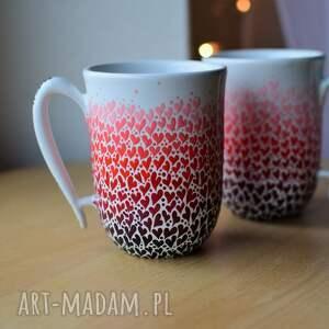 ceramika kubki dla pary serduszka ombre ręcznie malowane, kubki