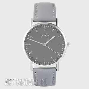 zegarek yenoo - simple elegance szary, skórzany, zegarek, bransoletka