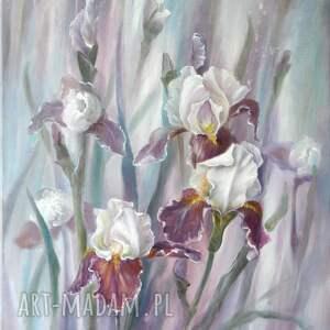 irysy, ręcznie malowany obraz olejny, l olbrycht, kwiaty sztuka