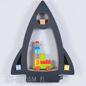 Półka na książki zabawki RAKIETA ecoono | czarny, półka, chłopiec, dziewczynka