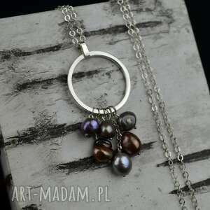 handmade naszyjniki delikatny naszyjnik w kształcie koła z perłami srebro