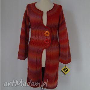 sweter - płaszczyk dzianinowy w czerwieniach, sweter, płaszcz, płaszczyk, dzianina