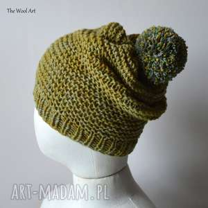 czapka z pomponem, czapka, wełniana, na drutach, jesienna