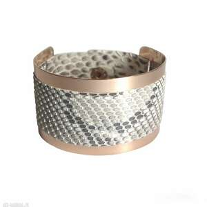 hand made bransoleta skórzana badge złota wężowa