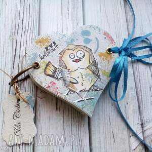notes /szkicownik/żyj kolorowo, serce, notes, kleksy, ptak, zyczenia, prezent