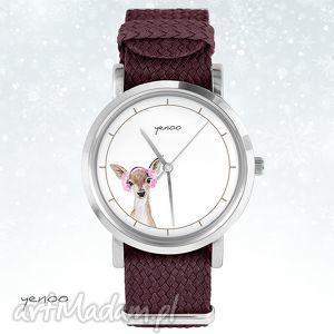 na święta upominek Zegarek, bransoletka - Sarenka bordowy, zegarek, nato, pasek