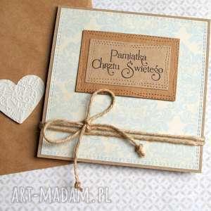 handmade kartki pamiątka chrztu świętego: cream & mint