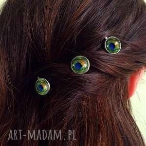 ręcznie wykonane ozdoby do włosów pawie oko - 3 wsuwki do włosów