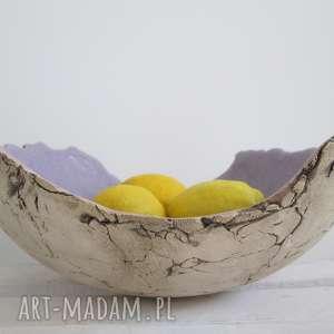 lawendowa artystyczna misa na owoce, dekoracyjna, miska, ceramiczna, ozdobna