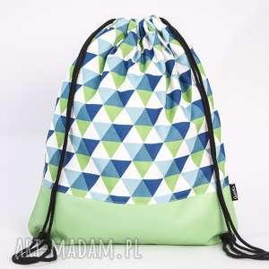 plecaki skórzane trójkąty, torba, plecak, worek, ekoskóra