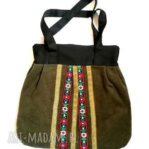 torebka damska retro zielen zgniła handmade, torebka, etno, boho, ludowa, folk