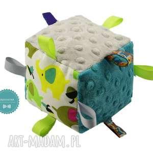 hand made zabawki kostka sensoryczna grzechotka, wzór słonie