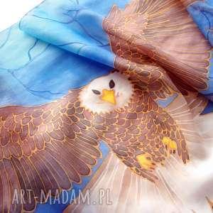 Prezent Szalik jedwabny ręcznie malowany z wzorem lecącego orła - unisex jedwab dla