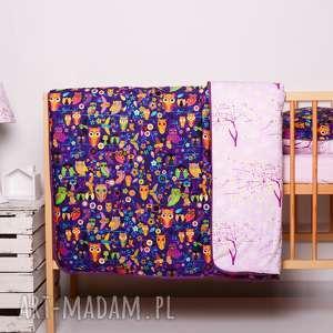 pościel dziecięca z kołderką 110x125cm i poduszką 50x60cm sówki fiolet