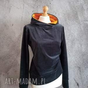 bluzy bluza velvet rozmiar s/m, z weluru, kapturem, damska