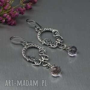 kolczyki wire wrapping shirru, długie, srebrne wiszące, biżuteria