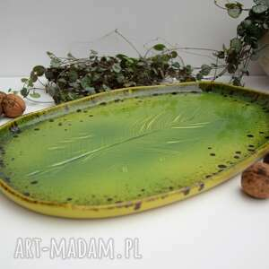 Patera ceramiczna - talerz dekoracyjny z liściem ceramika tyka