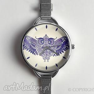 ręczne wykonanie zegarki sowa - zegarek z dużą tarczką 0870ws