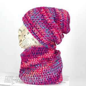 kolorowy zestaw z włóczki, czapka, wełniana, włóczka, ciepła, wiosenna, prezent