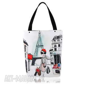 TOREBKA SHOPPERKA 1307 PARIS, shopping, grafika, praktyczna, duża, city, pojemna