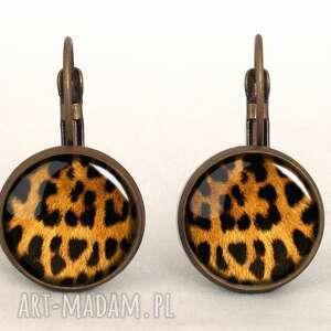 autorskie kolczyki gepard - małe kolczyki wiszące