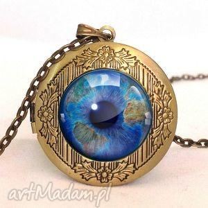 źrenica - sekretnik z łańcuszkiem, medalion ziemia, oko