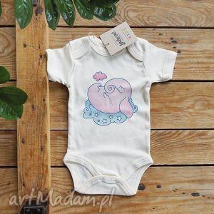 ubranka trąbalski różowy body eko, niemowlece, ekologiczna, bawelna, slon