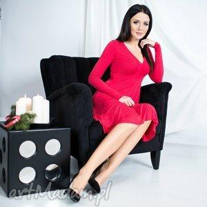 handmade sukienki sukienka z dekoltem, t146, czerwona