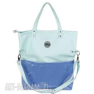 hand-made na ramię torebka damska cube mięta z kieszeniami