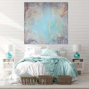 obraz olejny mint abstrakcja miętowa 120x120 cm do salonu sypialni