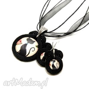 sisu komplet biżuterii sutasz - koty, soutache, sznurek, kot, kotek, wesołe