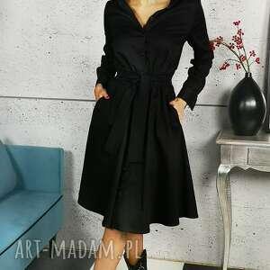 bawełniana czarna sukienka szmizjerka, bawełna, kobieca, elegancka
