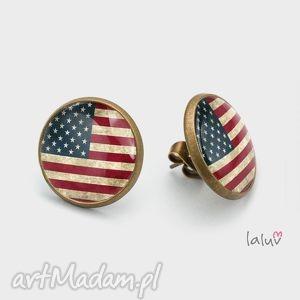 kolczyki sztyfty america, flaga, ameryka, grafika, gwiazdy, stany, zjednoczone