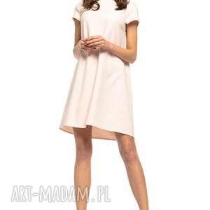 sukienka z kontrafałdą na plecach, t261, pudrowo jasnoróżowy, sukienka, prosta