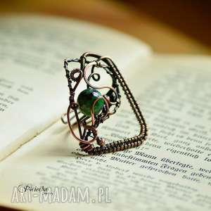 GREEN GEOMETRY- DUŻY PIERŚCIONEK Z ZOISYTEM, pierścionek, zoisyt, wire-wrapping