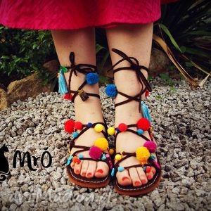 buty mega kolorowe rzymianki z wężami soutache, rzymianki, sandały, greckie