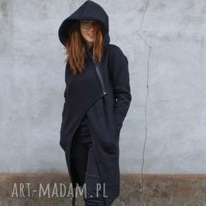 płaszcz asmi z kapturem asymetryczna, bluza, płaszcz, na zamek, długa, duże