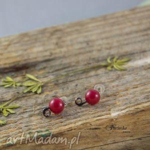 mini jadeit red - kolczyki wkrętki