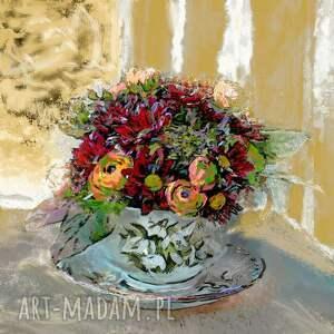 obraz na płótnie filiżanka z kwiatami 70x70, wiejskimi