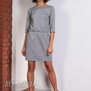 klasyczna sukienka, suk129 szary, casual, wygoda, gumka, luźna, sportowa, mini