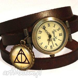 insygnia śmierci - zegarek bransoletka na skórzanym pasku