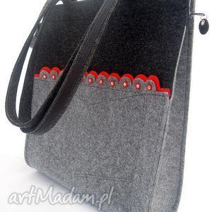 torebki filcowa torebka z długimi rączkami i czerwoną falbanką, torebka, filco