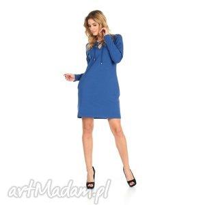 46-sukienka sznurowany dekolt,c.niebieska,rękaw długi, lalu, sukienka, dzianina