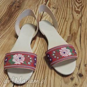 Sandały Rozalia, róze, folk, ludowe, folklor, jucht, góralskie