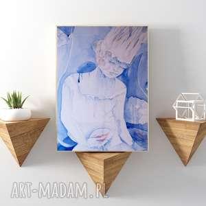 Biała Królowa...reprodukcja 20x30 cm., obraz, królowa, reprodukcja, plakat, błękitny