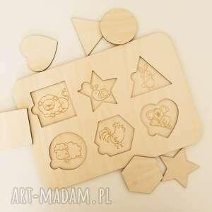 układanka dopasuj kształty - zwierzęta, drewniana, puzzle drewniane