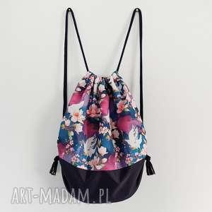 plecak worek xl żurawie - ,plecak,worek,wodoodporny,granatowy,żurawie,kwiaty,