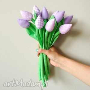 Tulipany - bawełniany bukiet, tulipany, kwiatki, wiosna, ozdoba, wazon